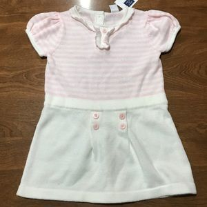 Janie and Jack pink white dress 12-18 months NWT